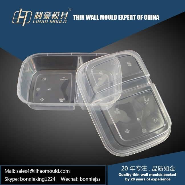 plastic double compartment lunch box mould