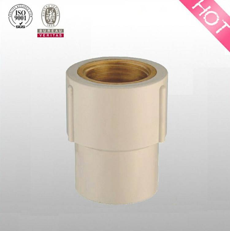 HJ brand CPVC ASTM D2846 pipe fitting female coupling with brass