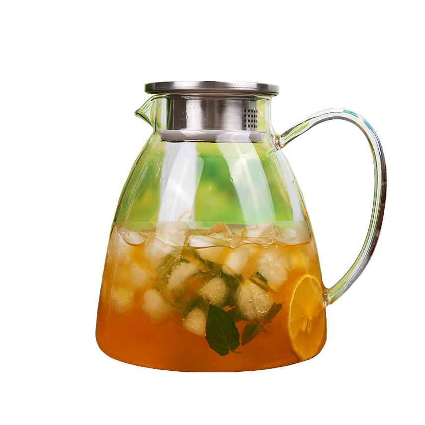 Handcraft Teapot Heat Resistant Glass Tea jug Bamboo Lid Heat Resistant glass Strainer Glass teapot