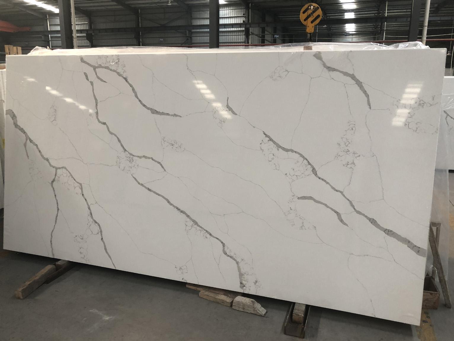 calacatta white quartz slab