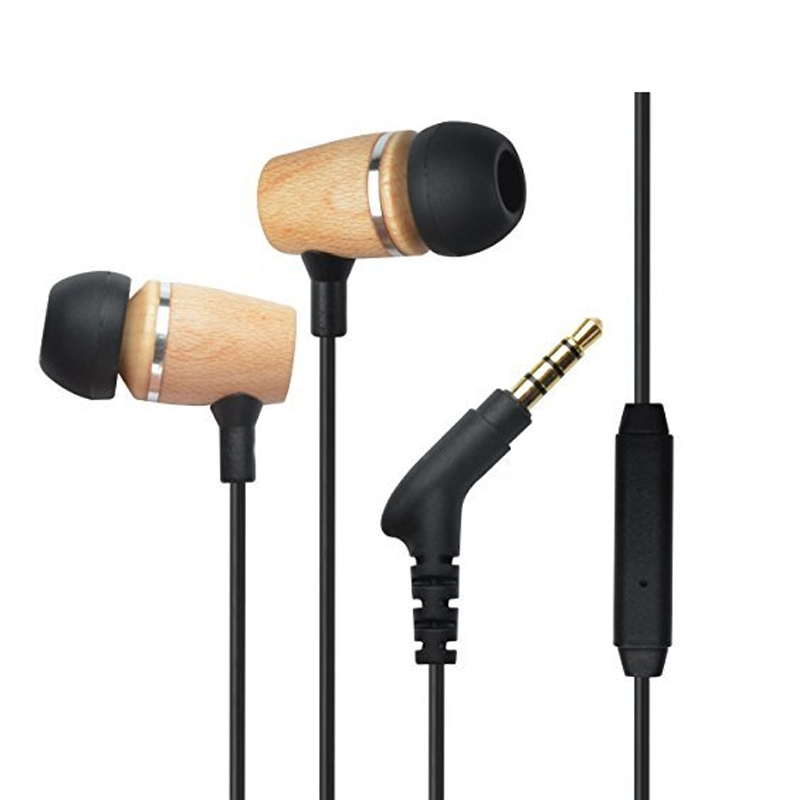 2016 New product Unique headphones earphone wooden design fashion earphone