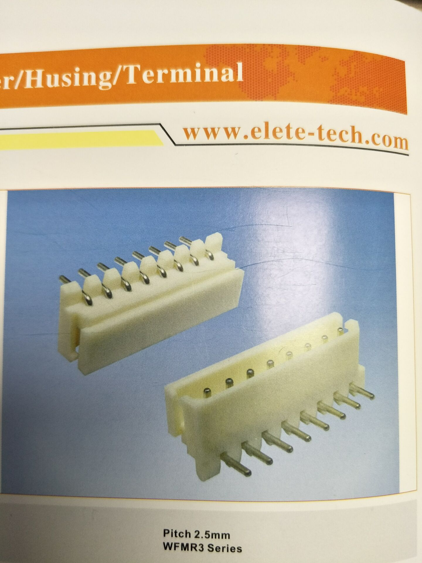 0.025-inch (0.64mm) right angle or straight square wire pins Mates with 2,510 housing 2.5mm pitch