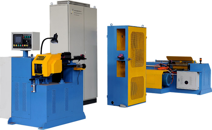 Re-spooling rewinder layer winding machine for MIG welding wire