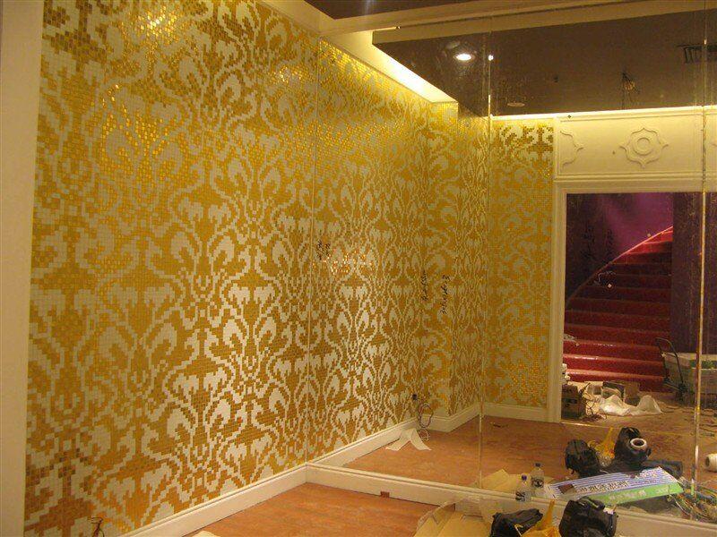 ZF-P16 Damasco Oro Giallo bisazza glass mosaic tiles gold and white wall art mosaic patterns decor