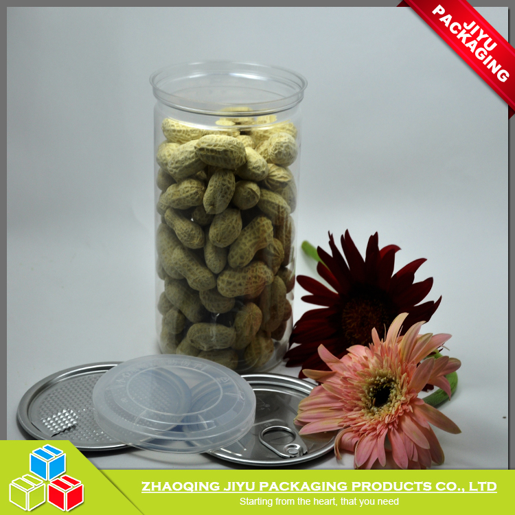 700ml Hot sale food grade clear PET plastic can/jar with easy open end