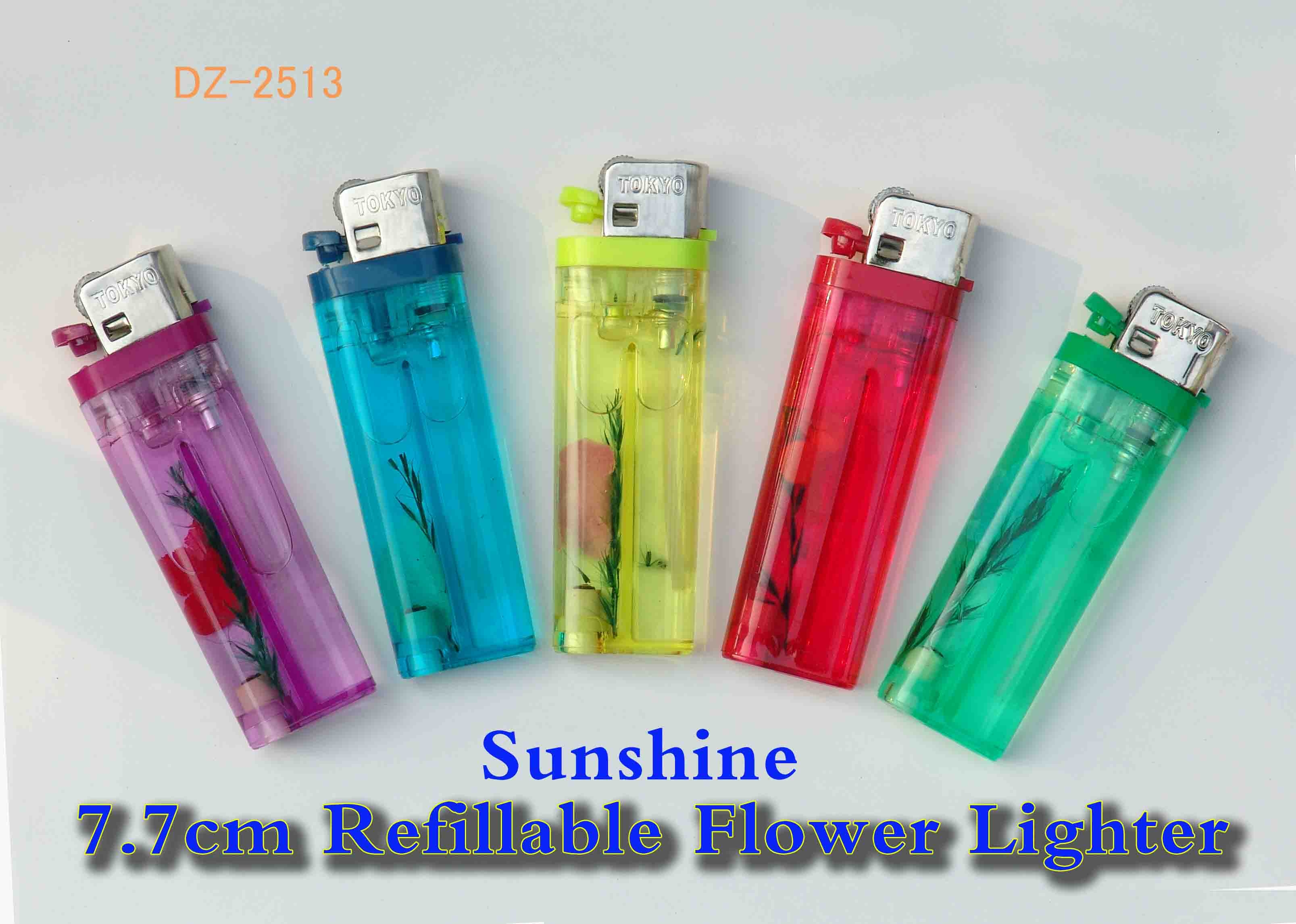 Flower refillable gas lighter with color head