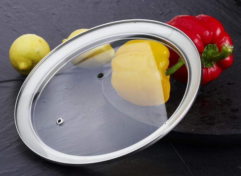 G type tempered glass lid with stainless steel rim