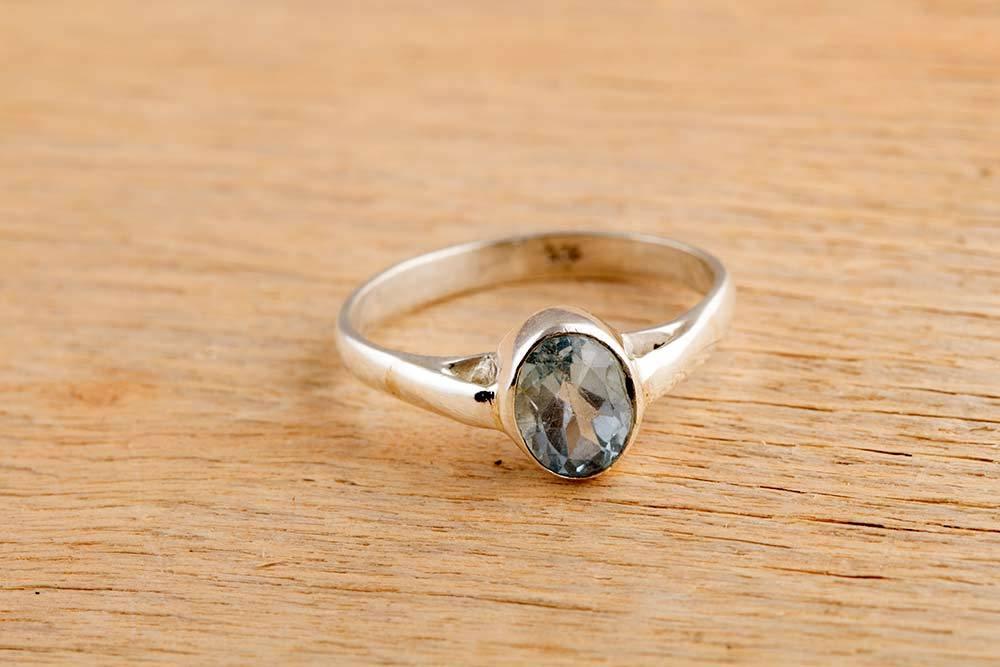92.5 sterling silver Blue Topaz Ring