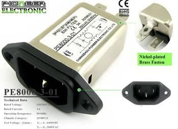 PE8000-3-01 3A 120V/250V ac emi noise filter for computer