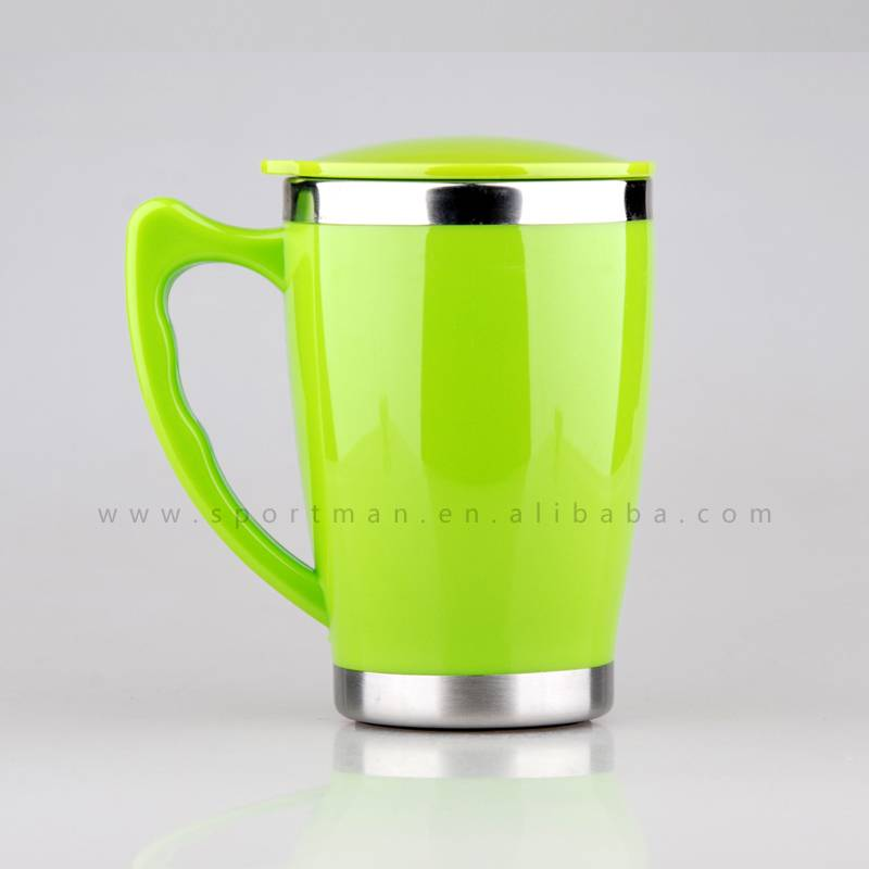 14oz Plastic Travel Tea cup keep warm with colorful handle and lid