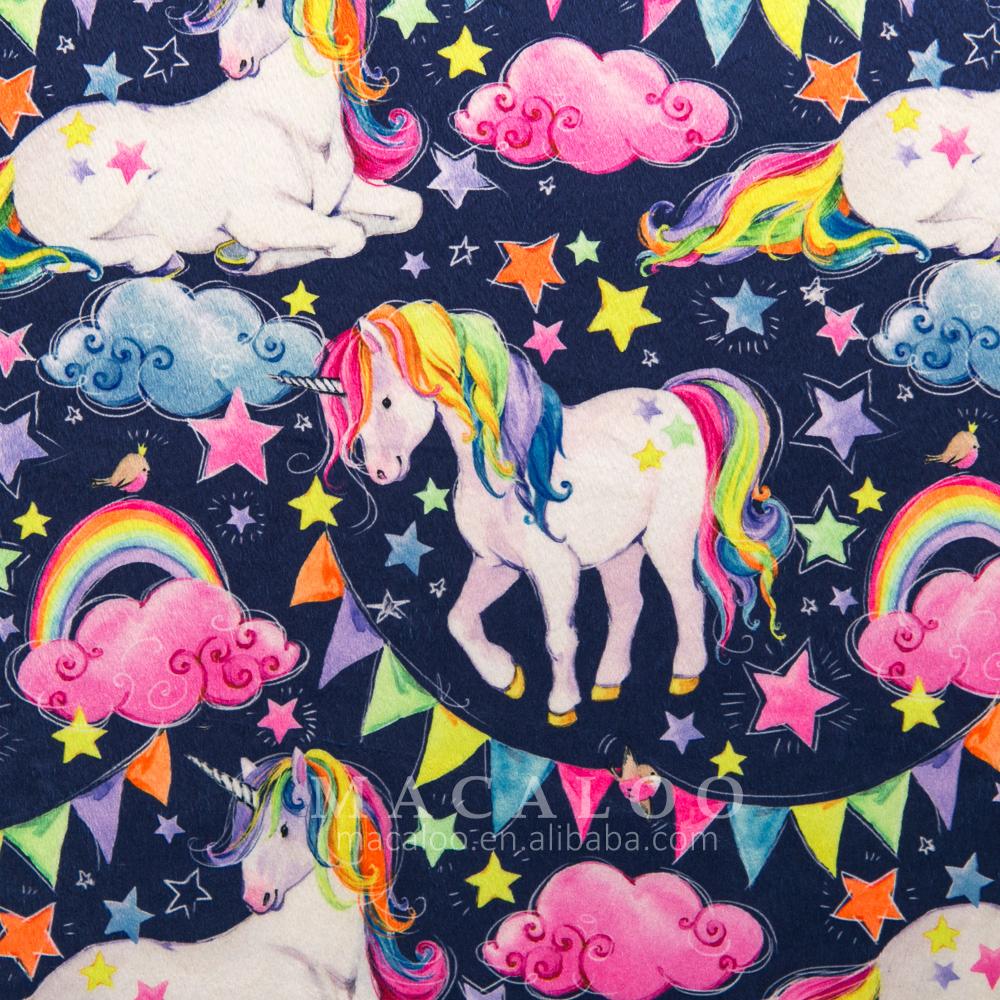 Soft long pile custom print minky fabric for baby blanket