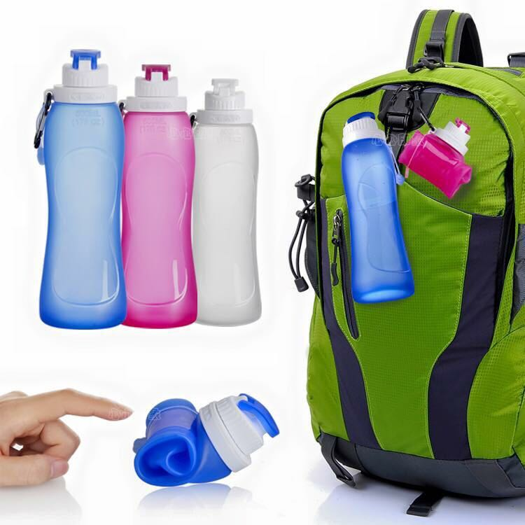 100% food grade FDA Standard Collapsible Silicone Portable outdoor Water Bottle with Stainless Hook