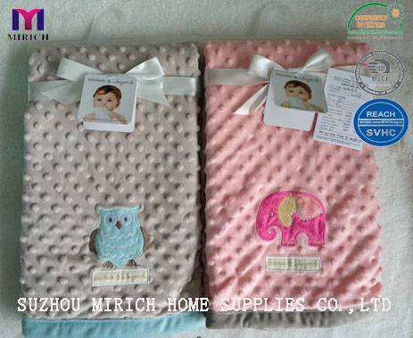 Micro mink Bubble Embroidery Baby Receiving Blanket