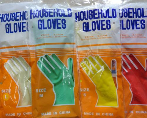 Flocklined Clearn household kitchen latex gloves rubber material safety