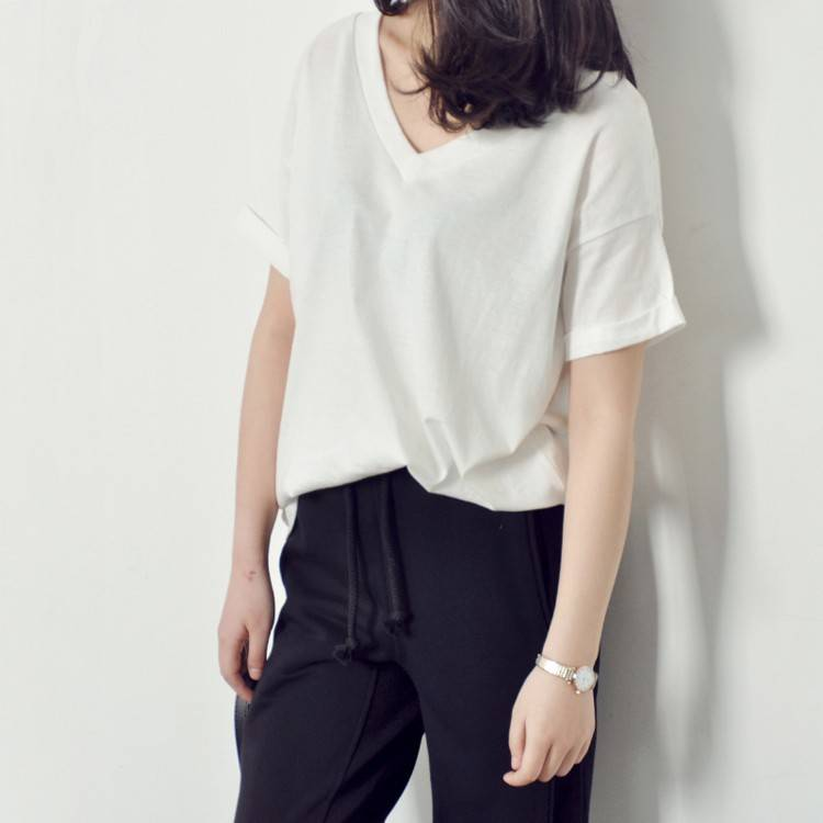 cotton polyester short sleeve v neck womens t shirts