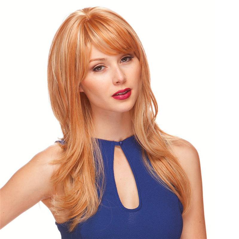 Blonde mixed long natural wavy full head Long Layered Wig