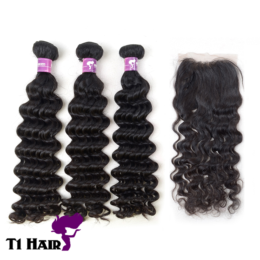 T1 Hair Grade 5A 3 Bundles Brazilian Virgin Remy Deep Wave Hair Weave Extensions with 4 4 Free Part