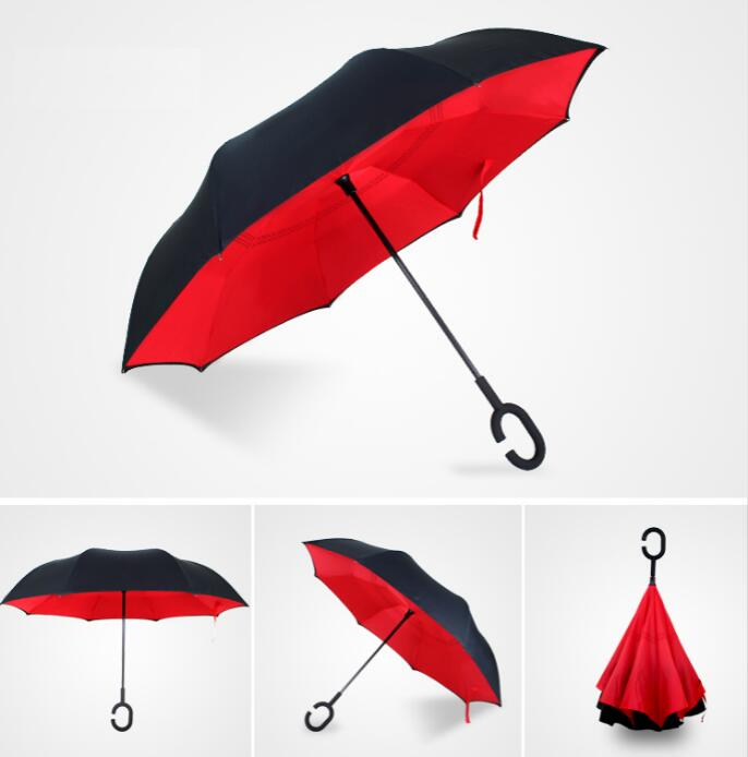 Double Layer 190T Pongee Upside Down Reverse Inverted Umbrella
