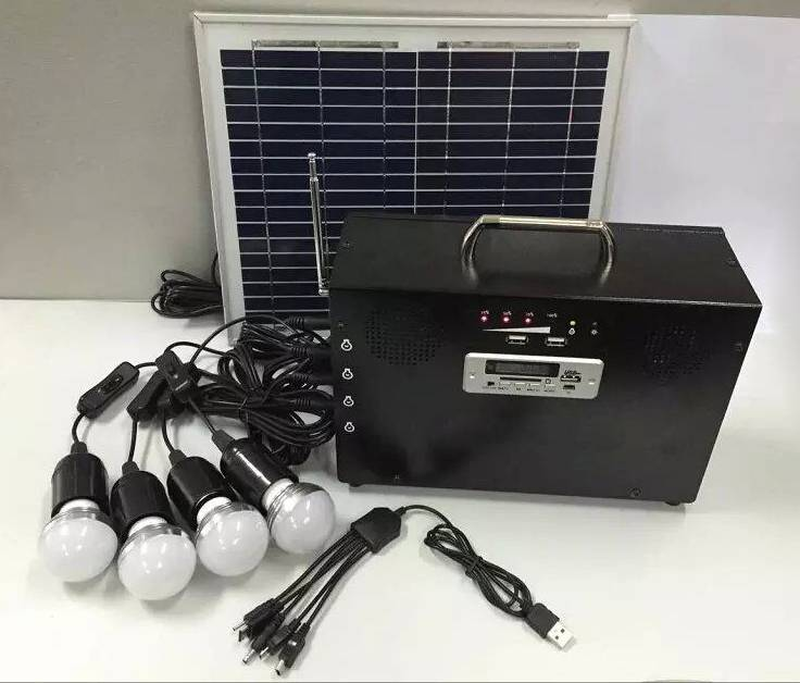 20W Portable Solar System For Home Use Lighting with Audio Player