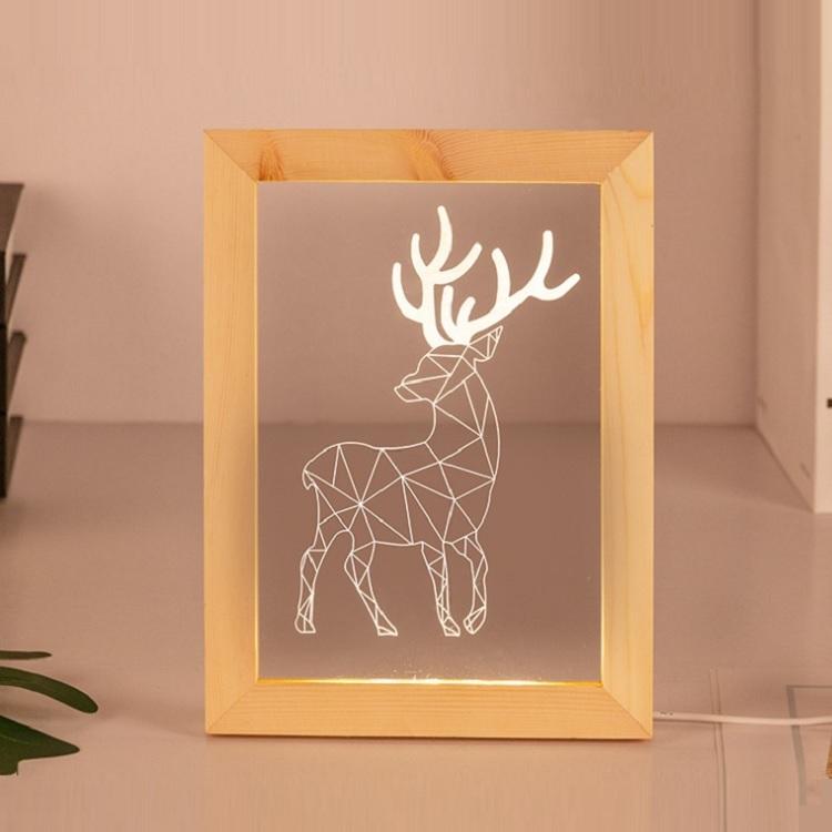 Customize laser cut acrylic light wood photo frame night lamp 3d led optical illusion lamp