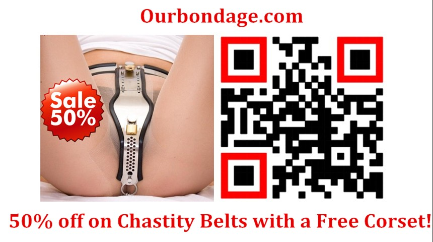 OurBondage T-shaped Stainless Steel Adjustable Female Chastity Belt With Shield