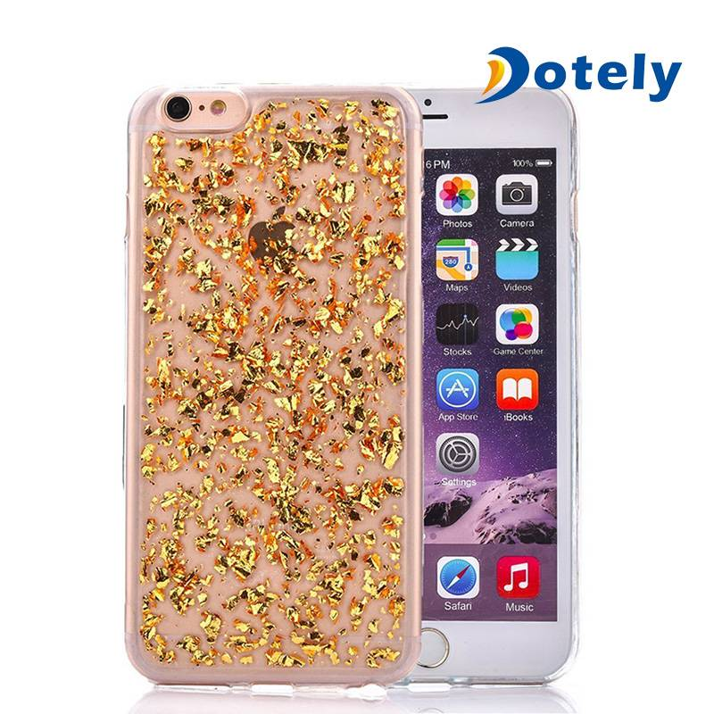 Transparent Gold Foil Flexible Soft Silicone TPU Protective Shell for iPhone