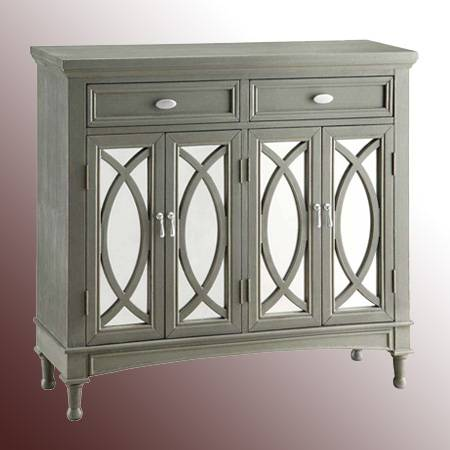 2-Drawer Glass Cabinet with 4-Doors