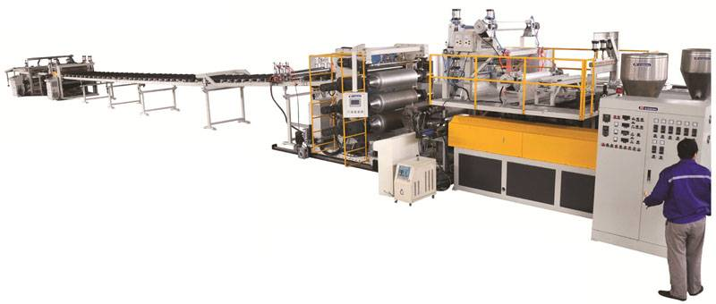 PECF Series Grid Reinfored Plastic Construction Template Extrusion Line