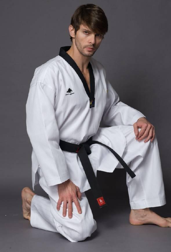 WTF approved Pine Tree black v-neck taekwondo uniform