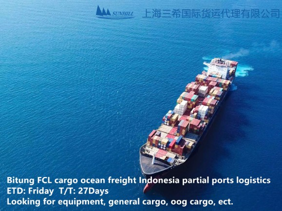 Shanghai to Bitung FCL cargo Indonesia ports freight service