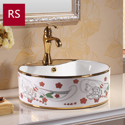 High quality bathroom golden luxury sink water basin