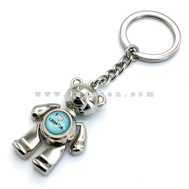 Custom Croatia Souvenirs Bear Metal Keychain