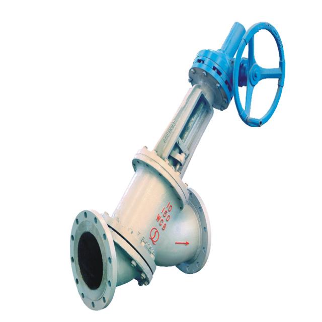 Y type globe valve for slurry control