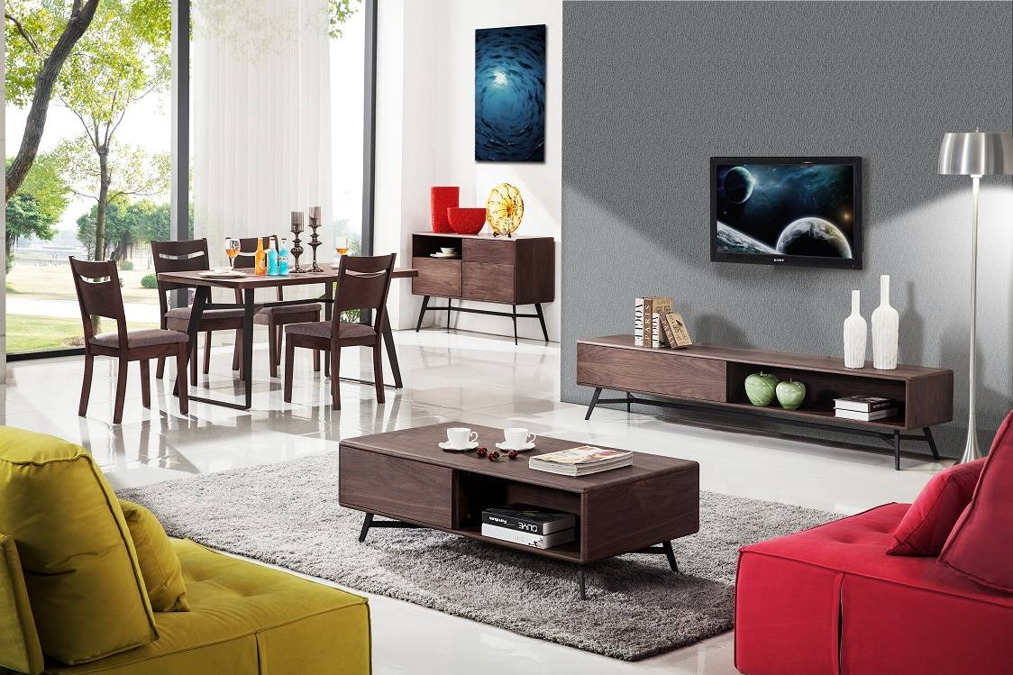 Natural wood corner tv unit