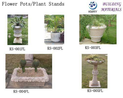 Stone Flower Vase & Plant Stand