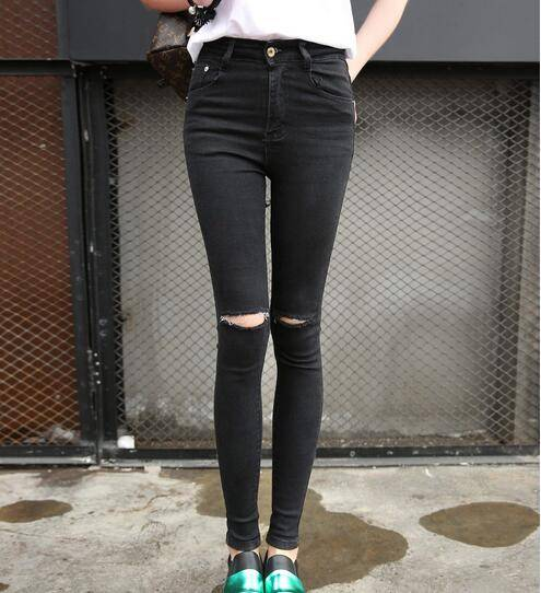 Ladies Fashion Middle Waist Fitted Straight Jean Pants