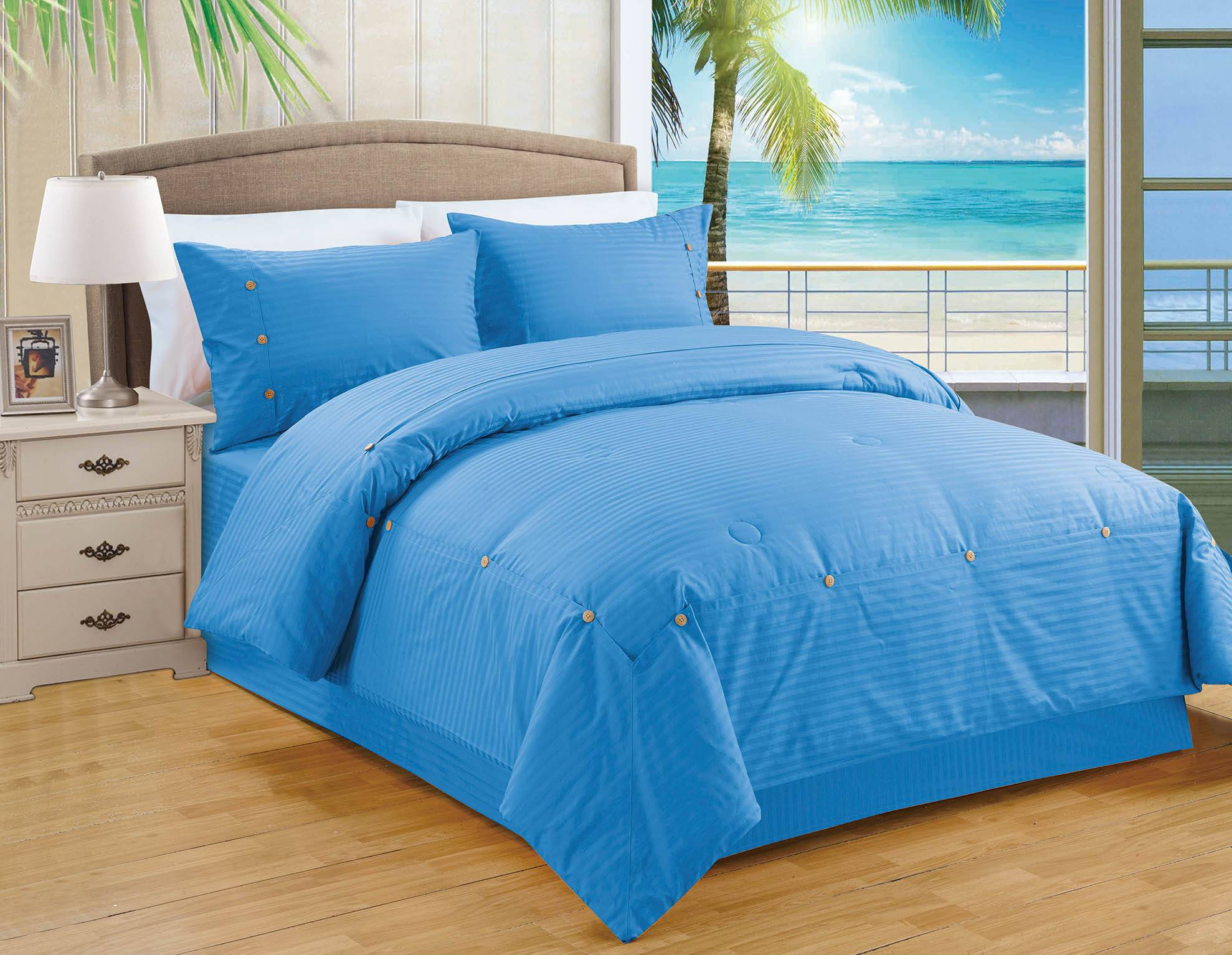 Sateen Stripe Polyester cotton Comforter Set Bedding Set
