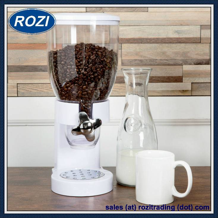 White Single Cereal Dispenser Holds 17.5 Ounces of Dry Food