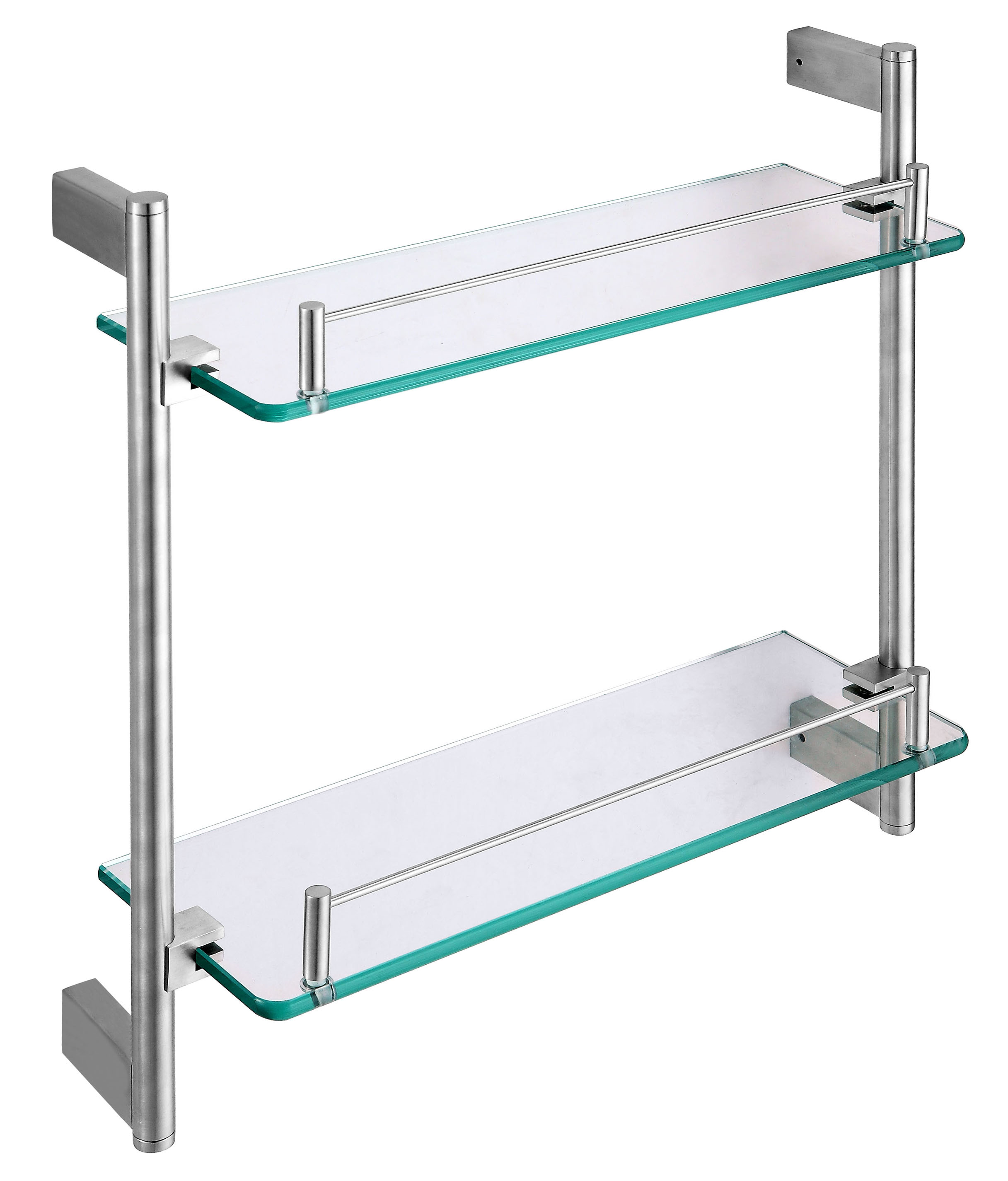 High quality bathroom 2 tier glass shelf shampoo holder