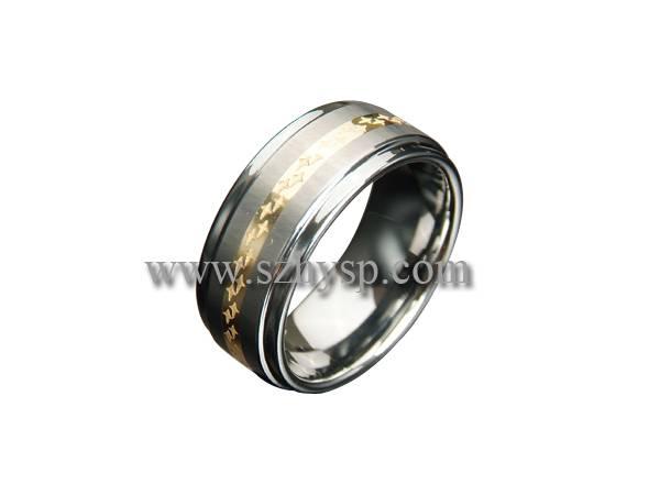 Tungsten Ring RIG001 (14K gold inlaid)
