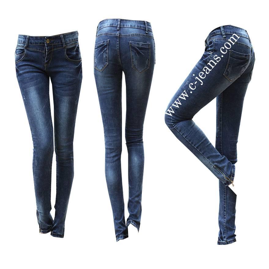 Garment Cotton Clothing Lady Skinny Pencil Denim Jeans (14104)