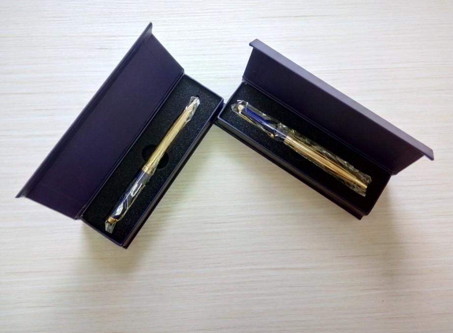 golden metal pen with pen box stationery set good quality gift metel pen