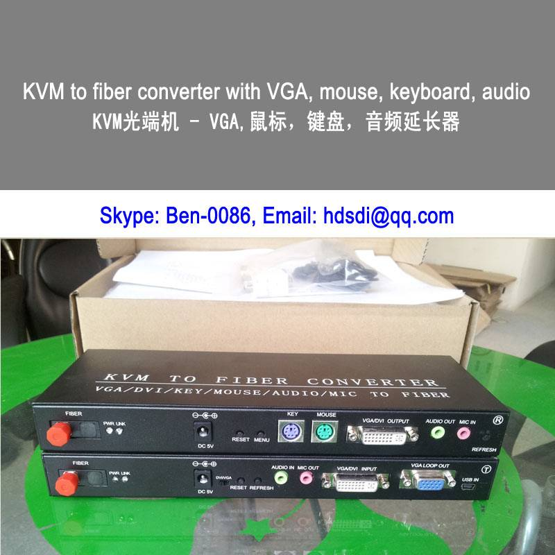 1ch KVM to fiber optic converter with USB keyboard & USB mouse