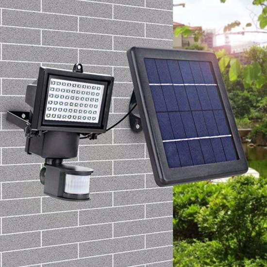 60 PCS Supper Bright LED Aluminium PIR Motion Sensor LED Solar Wall Light for Security Lights Outdoo
