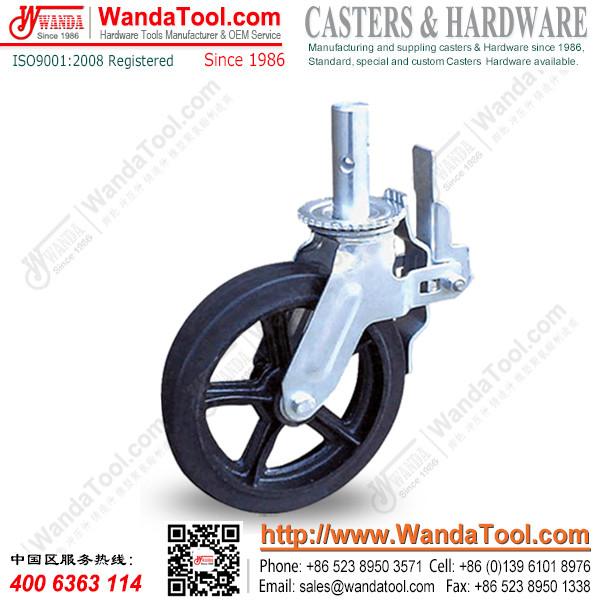 10 inch Scaffold Caster with Moldon Rubber Wheel