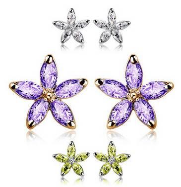 Fashion Alloy Flower Crystal Earrings For Women