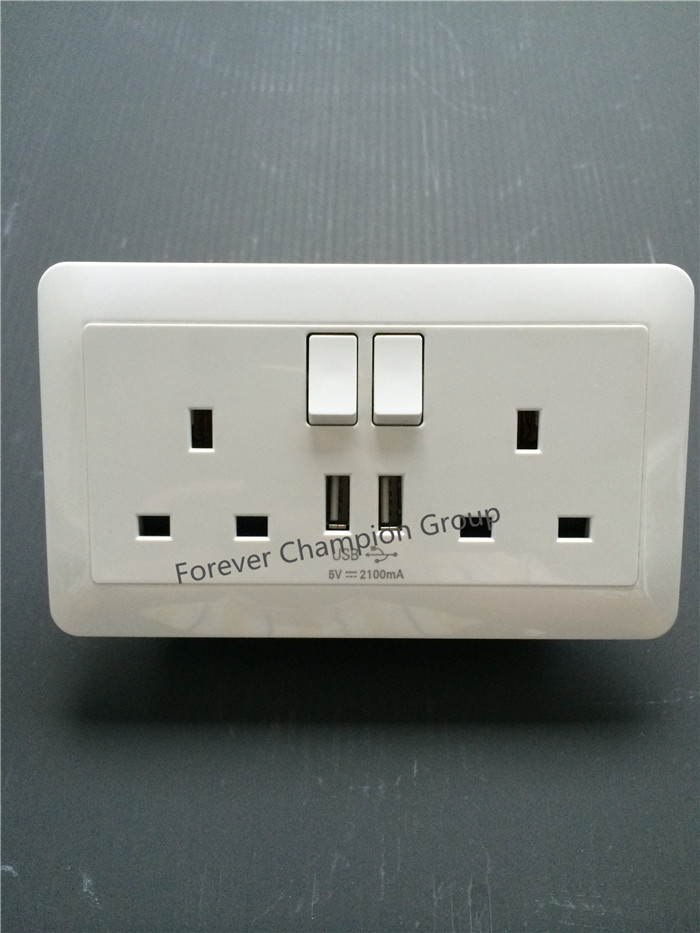 CNHUNG switch 13A,2 Gang SP Switched BS Socket with dual USB