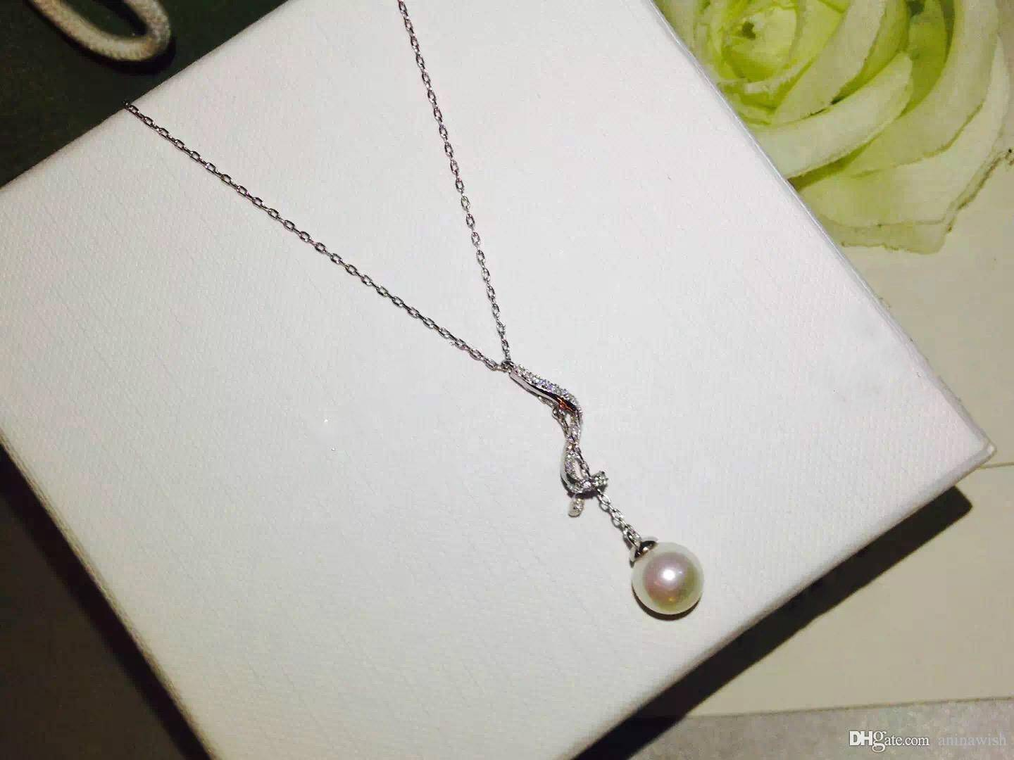 NEFFLY New arrival top quality fashion S925 platinum plated brass Classy Pearl Necklaces women penda