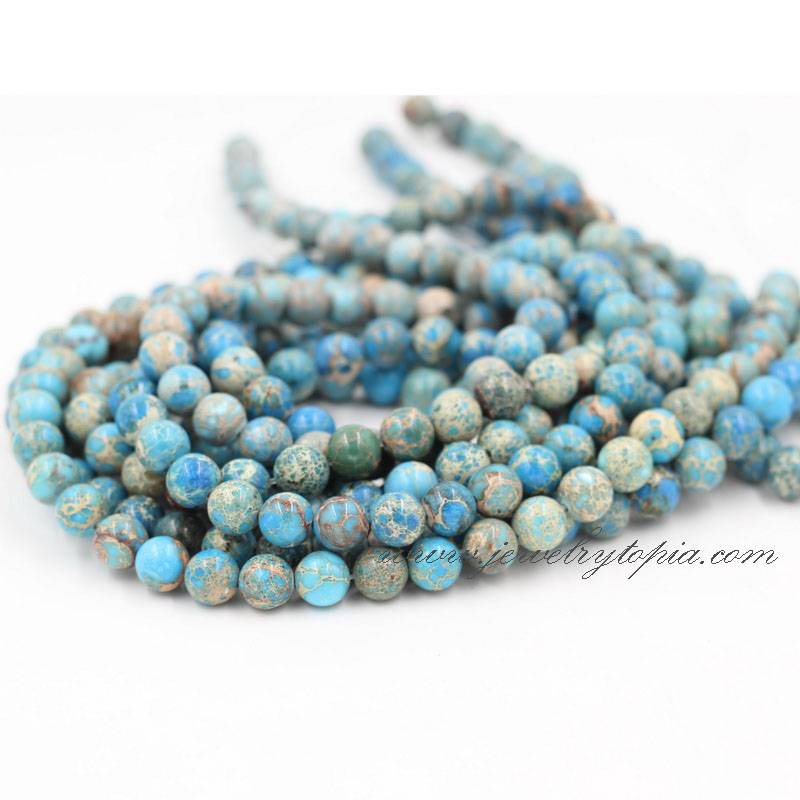 Wholesale Natural Blue Impression Jasper Round Semi Precious Stone Beads String 4 6 8 10 12mm
