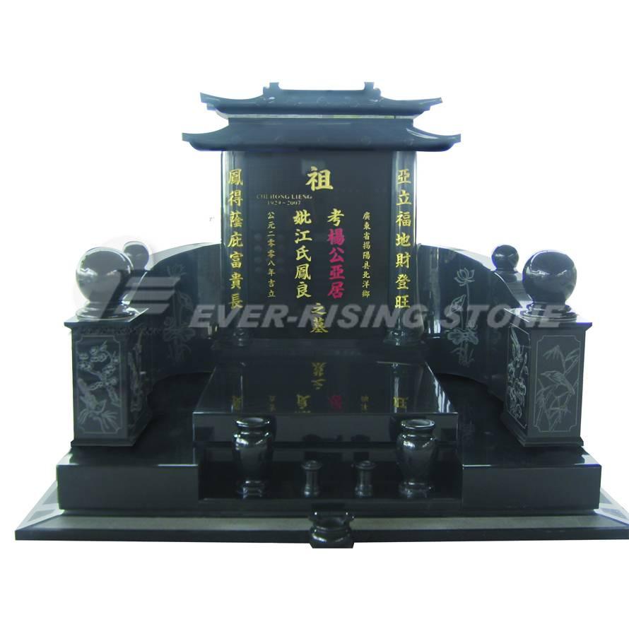 China Shanxi Black Granite Monument- Asian Tombstone (EMN-005)